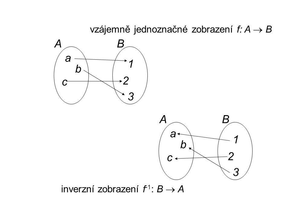 vzájemně jednoznačné zobrazení f: A  B