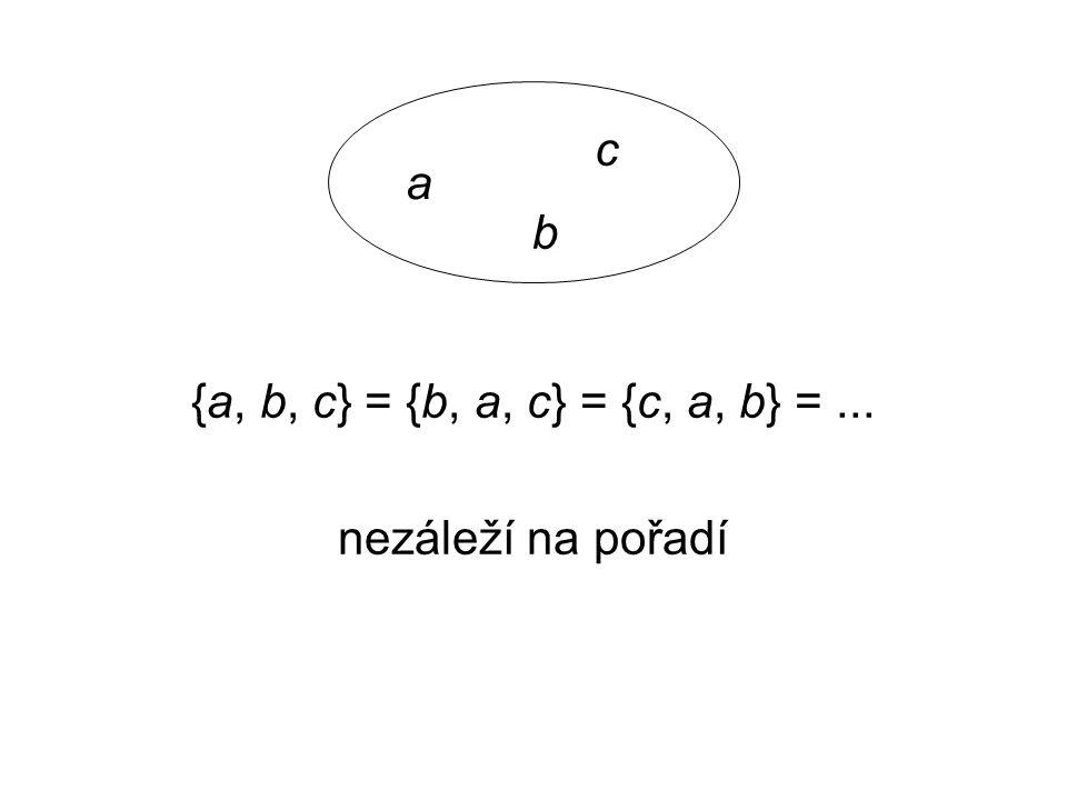 a b c {a, b, c} = {b, a, c} = {c, a, b} = ... nezáleží na pořadí