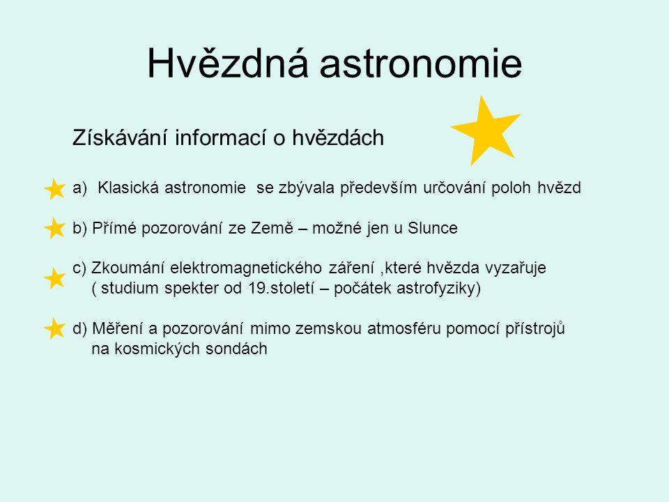 Hvězdná astronomie Získávání informací o hvězdách