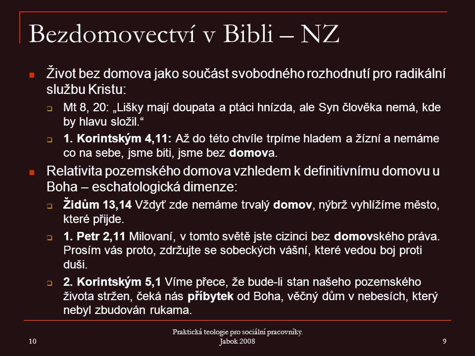 Bezdomovectví v Bibli – NZ