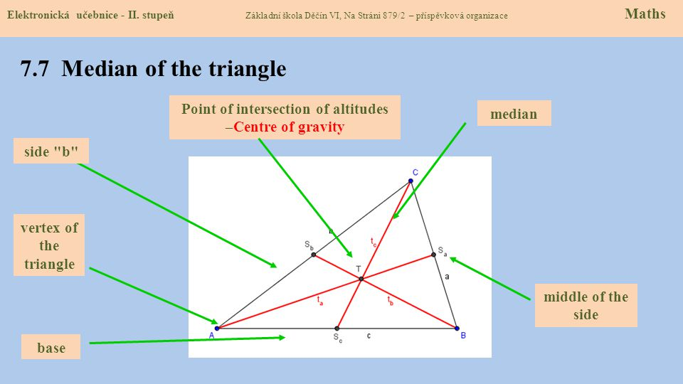 Point of intersection of altitudes –Centre of gravity