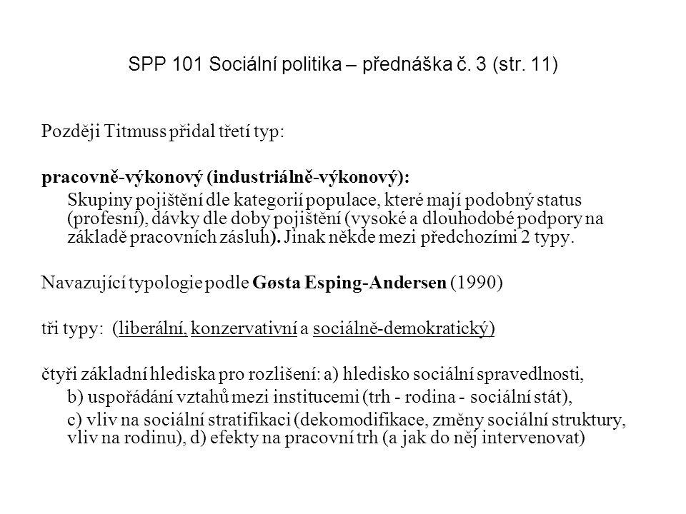SPP 101 Sociální politika – přednáška č. 3 (str. 11)