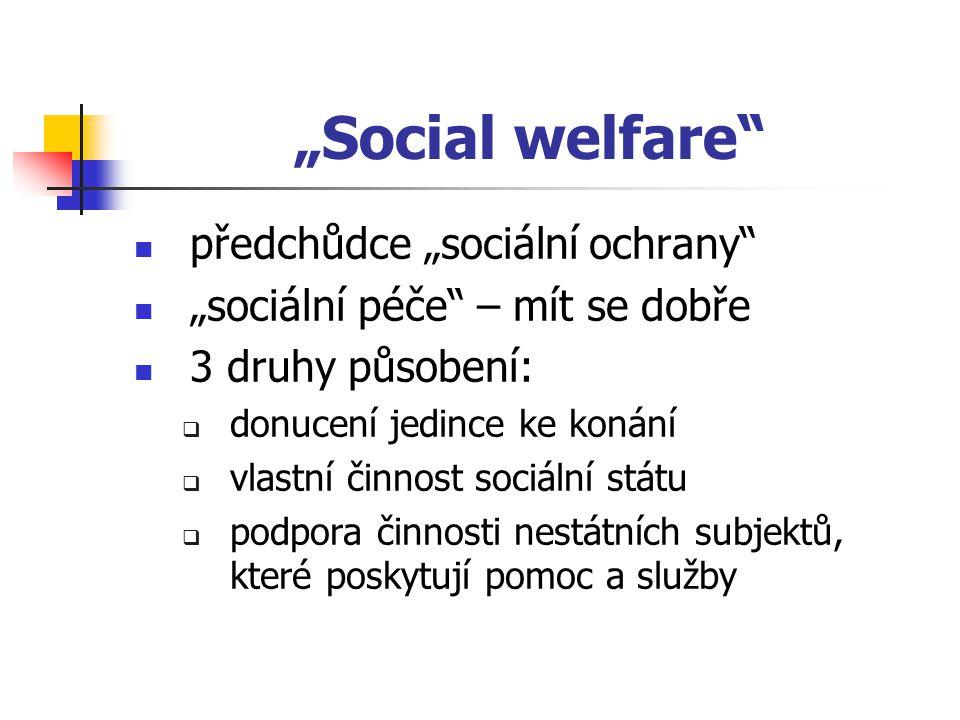 """""""Social welfare předchůdce """"sociální ochrany"""