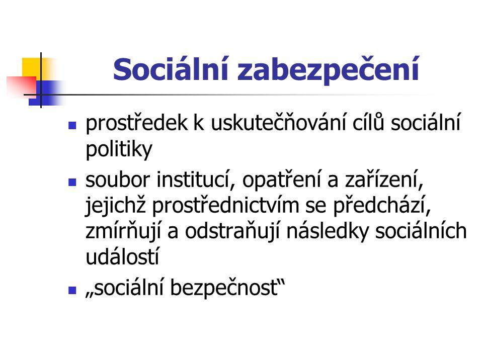 Sociální zabezpečení prostředek k uskutečňování cílů sociální politiky