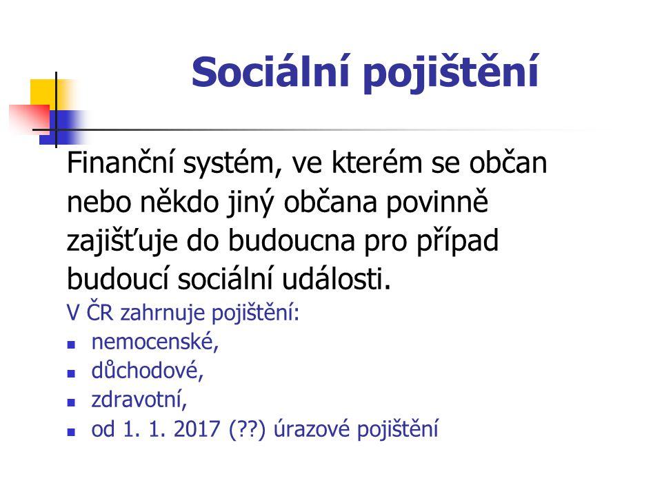 Sociální pojištění Finanční systém, ve kterém se občan