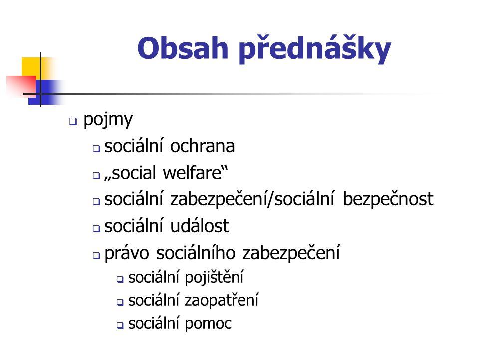 """Obsah přednášky pojmy sociální ochrana """"social welfare"""