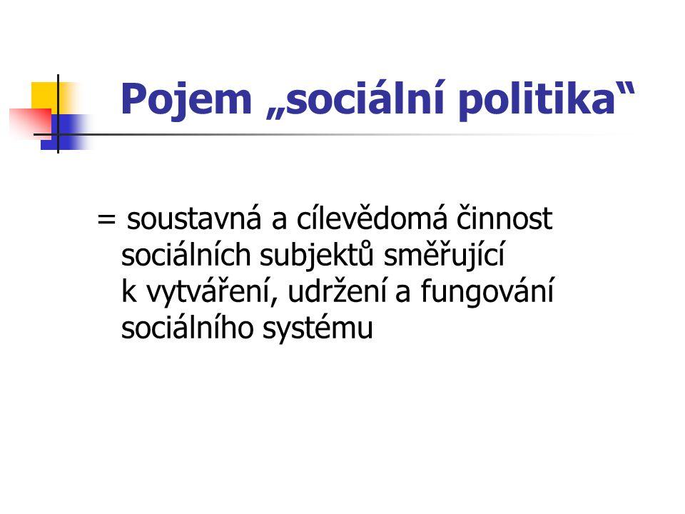 """Pojem """"sociální politika"""