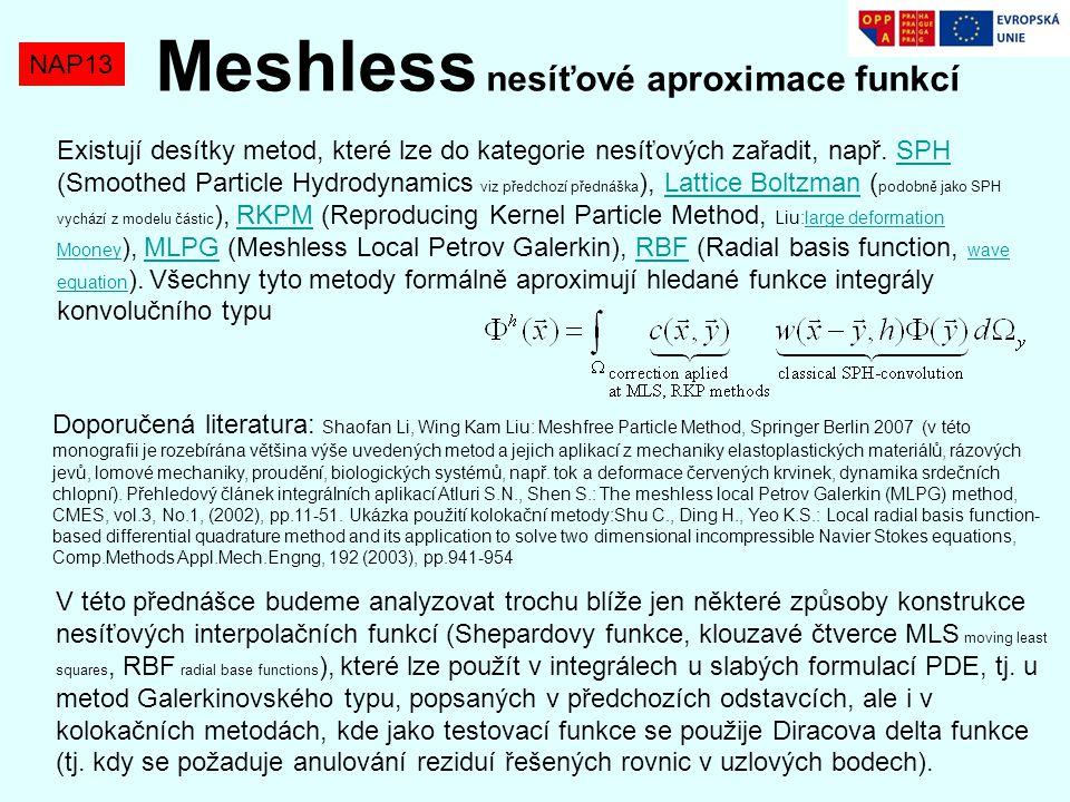 Meshless nesíťové aproximace funkcí