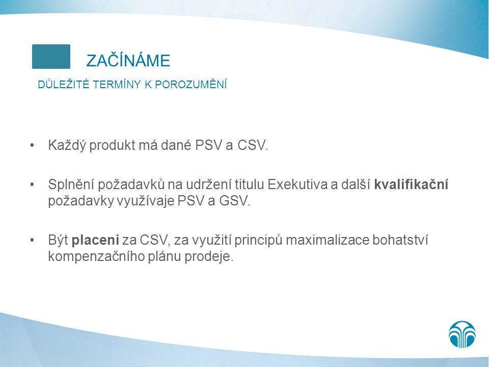 ZAČÍNÁME Každý produkt má dané PSV a CSV.
