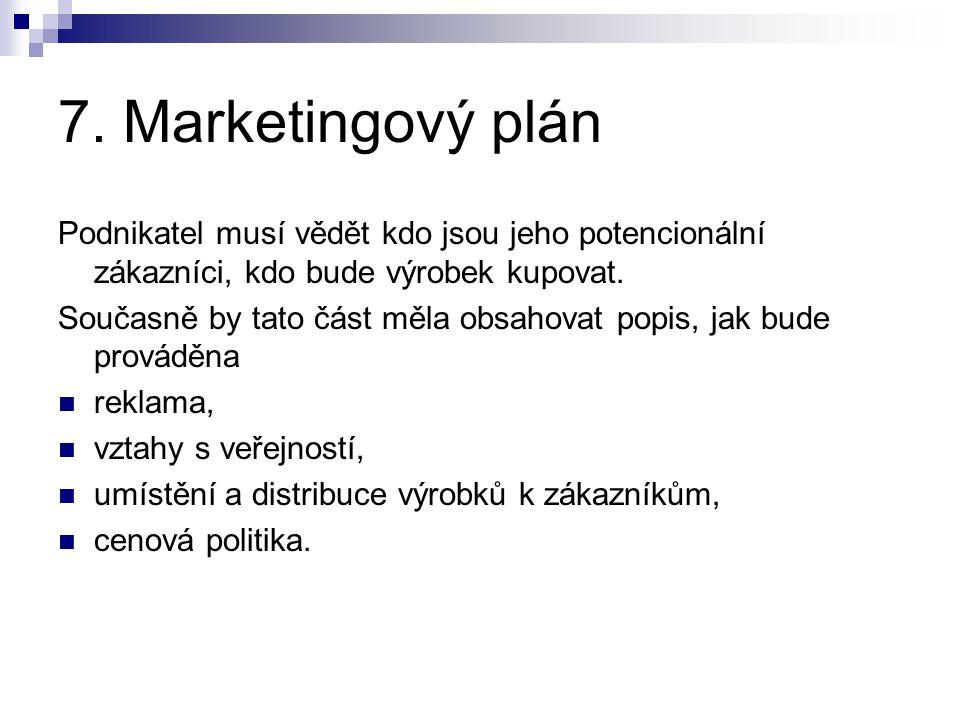 7. Marketingový plán Podnikatel musí vědět kdo jsou jeho potencionální zákazníci, kdo bude výrobek kupovat.
