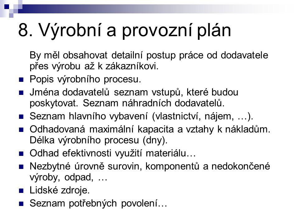 8. Výrobní a provozní plán