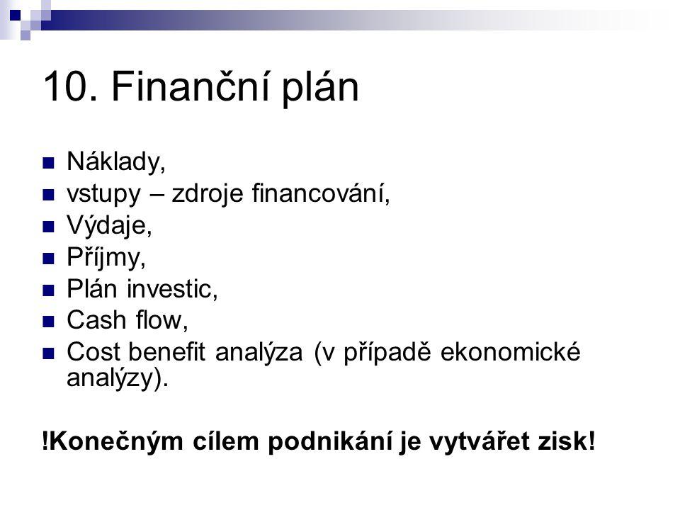 10. Finanční plán Náklady, vstupy – zdroje financování, Výdaje,