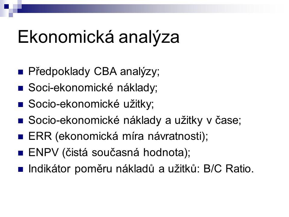 Ekonomická analýza Předpoklady CBA analýzy; Soci-ekonomické náklady;