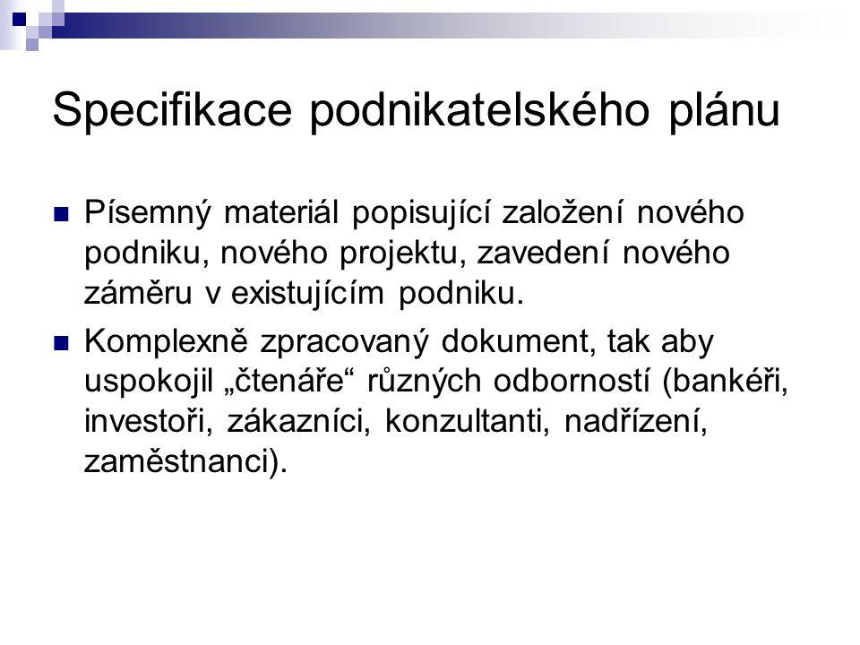 Specifikace podnikatelského plánu