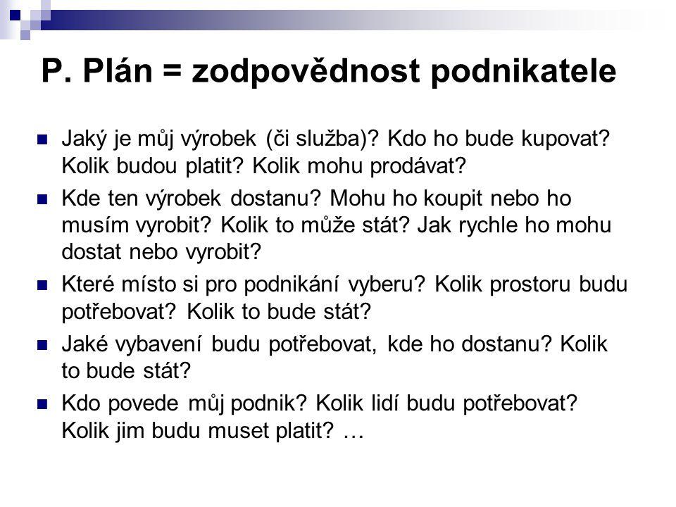 P. Plán = zodpovědnost podnikatele