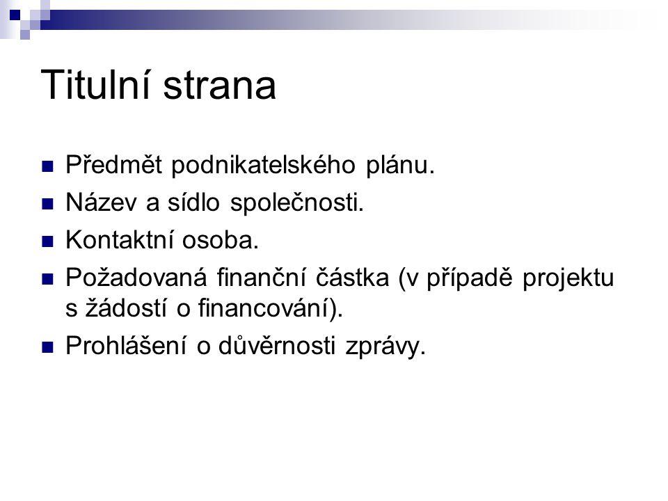 Titulní strana Předmět podnikatelského plánu.