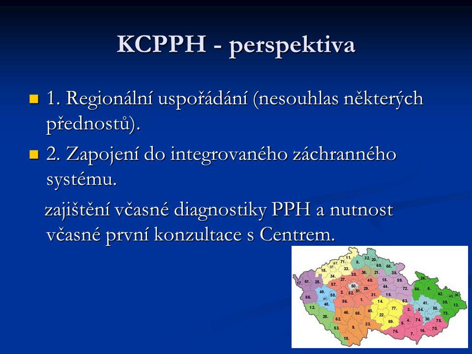 KCPPH - perspektiva 1. Regionální uspořádání (nesouhlas některých přednostů). 2. Zapojení do integrovaného záchranného systému.