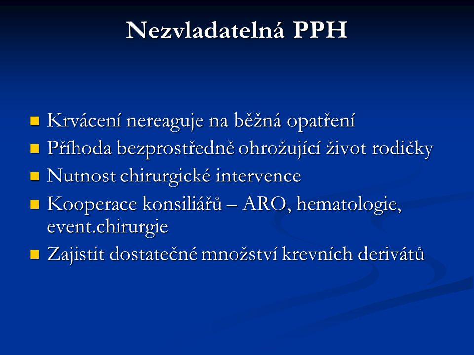 Nezvladatelná PPH Krvácení nereaguje na běžná opatření
