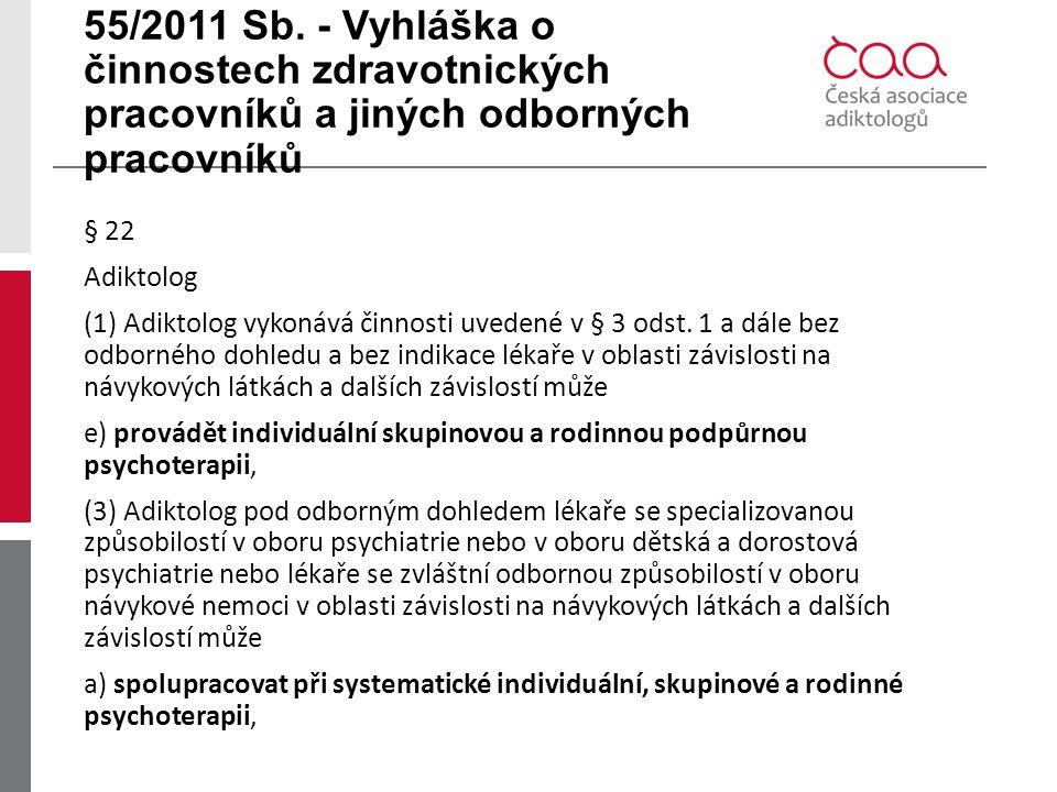 55/2011 Sb. - Vyhláška o činnostech zdravotnických pracovníků a jiných odborných pracovníků