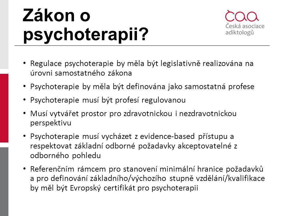 Zákon o psychoterapii Regulace psychoterapie by měla být legislativně realizována na úrovni samostatného zákona.