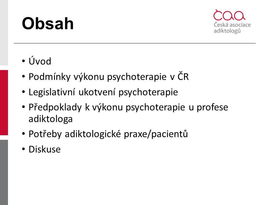 Obsah Úvod Podmínky výkonu psychoterapie v ČR