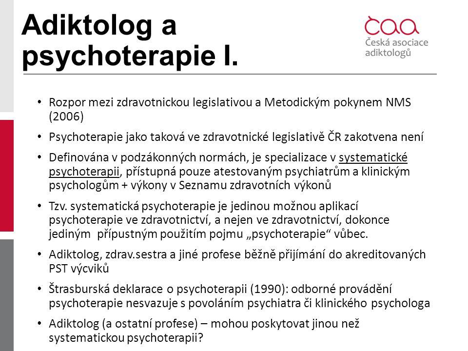 Adiktolog a psychoterapie I.
