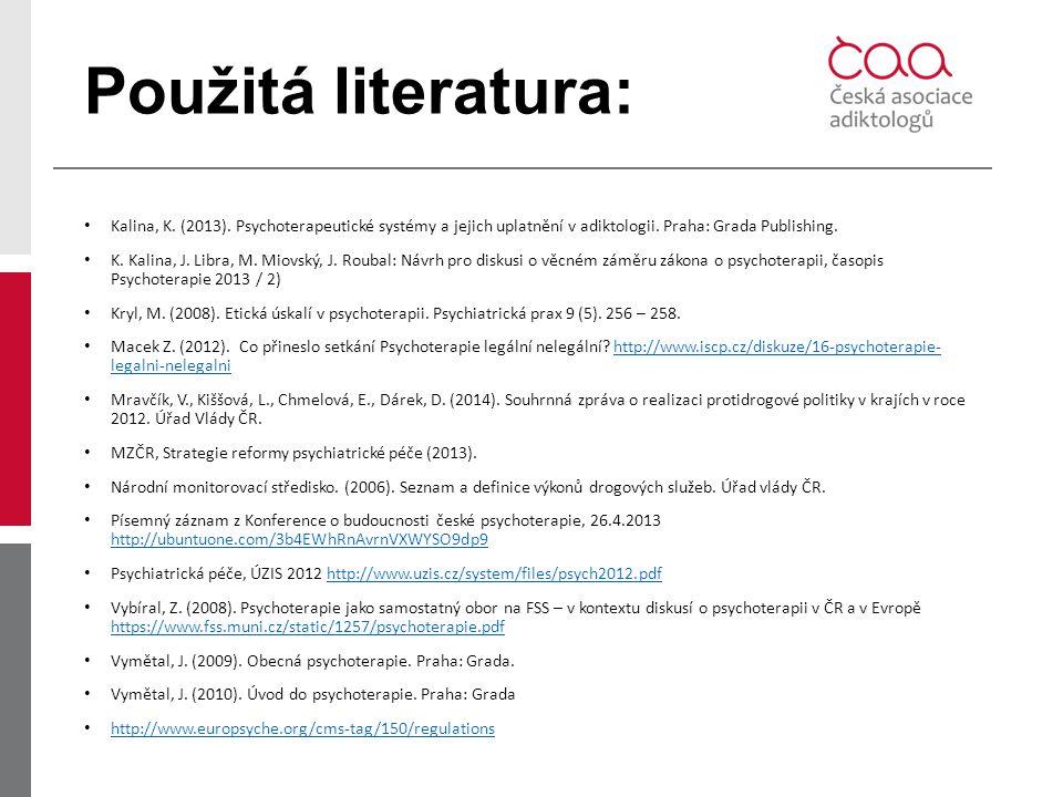 Použitá literatura: Kalina, K. (2013). Psychoterapeutické systémy a jejich uplatnění v adiktologii. Praha: Grada Publishing.