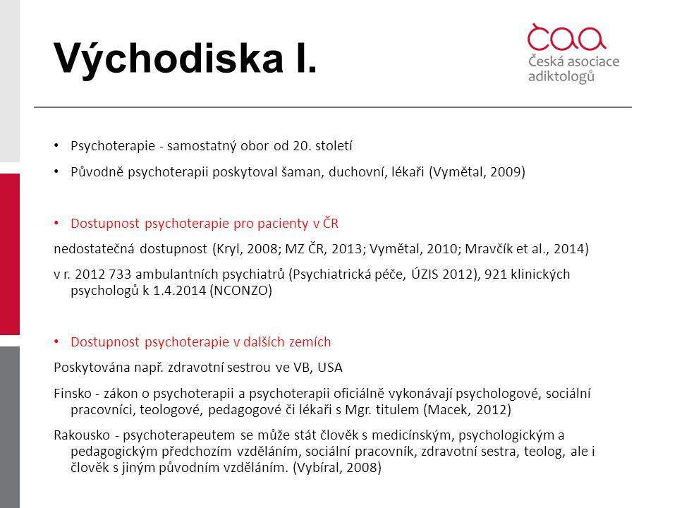 Východiska I. Psychoterapie - samostatný obor od 20. století