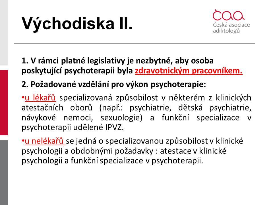 Východiska II. 1. V rámci platné legislativy je nezbytné, aby osoba poskytující psychoterapii byla zdravotnickým pracovníkem.