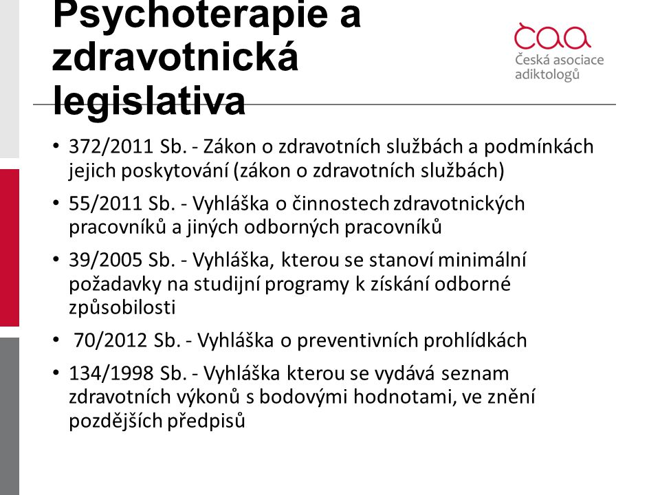 Psychoterapie a zdravotnická legislativa