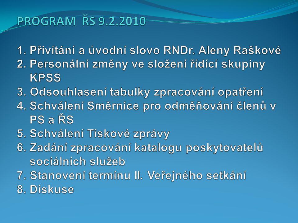 PROGRAM ŘS 9.2.2010 1. Přivítání a úvodní slovo RNDr.