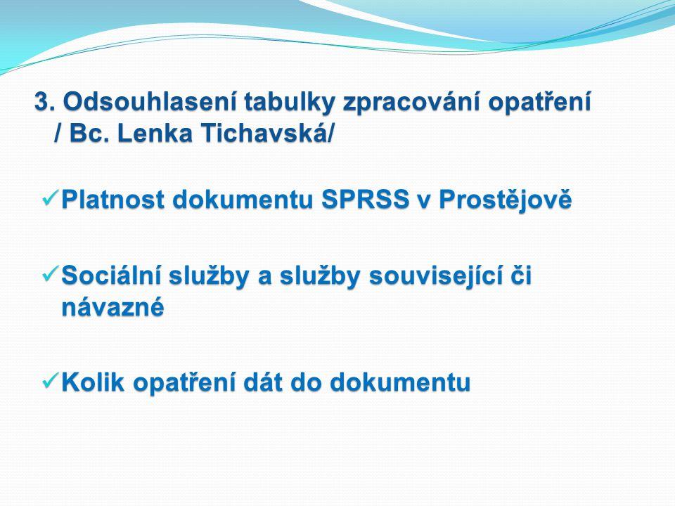 3. Odsouhlasení tabulky zpracování opatření / Bc. Lenka Tichavská/