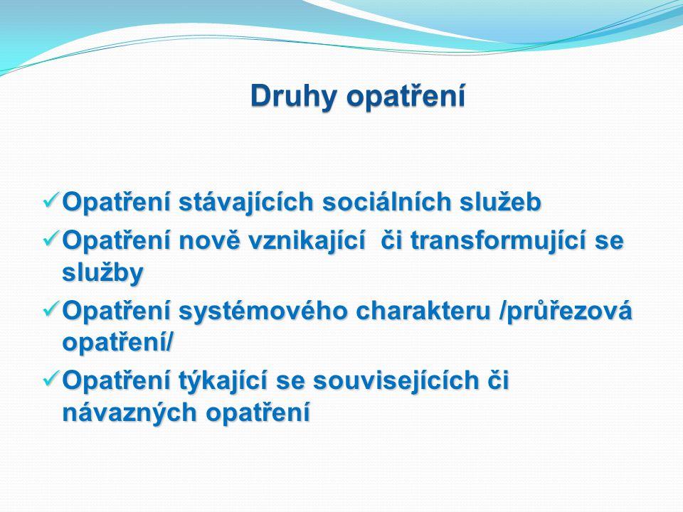 Druhy opatření Opatření stávajících sociálních služeb