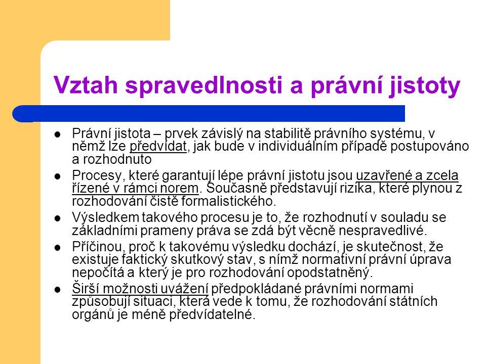 Vztah spravedlnosti a právní jistoty