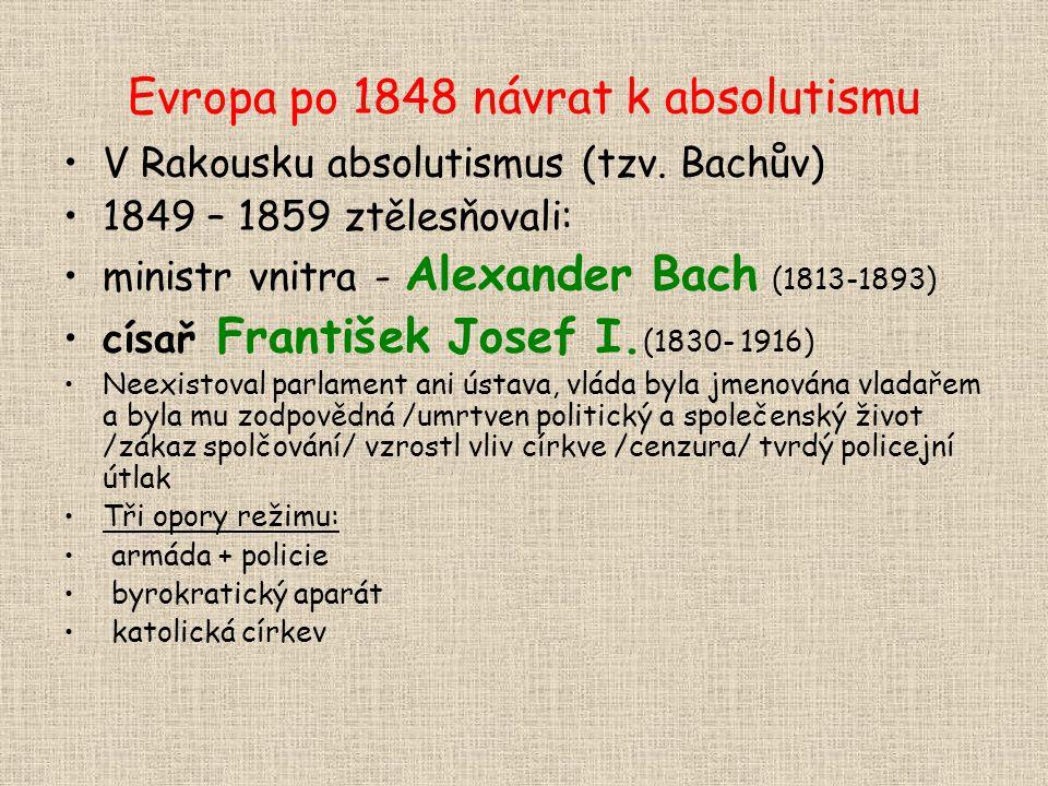 Evropa po 1848 návrat k absolutismu