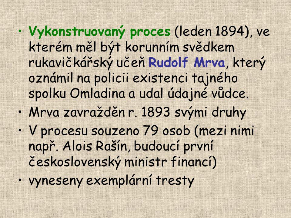 Vykonstruovaný proces (leden 1894), ve kterém měl být korunním svědkem rukavičkářský učeň Rudolf Mrva, který oznámil na policii existenci tajného spolku Omladina a udal údajné vůdce.