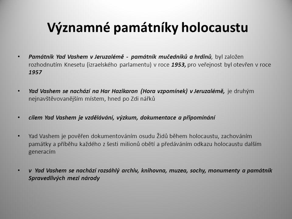 Významné památníky holocaustu