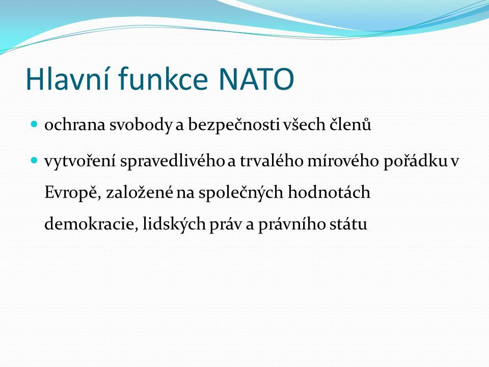 Hlavní funkce NATO ochrana svobody a bezpečnosti všech členů