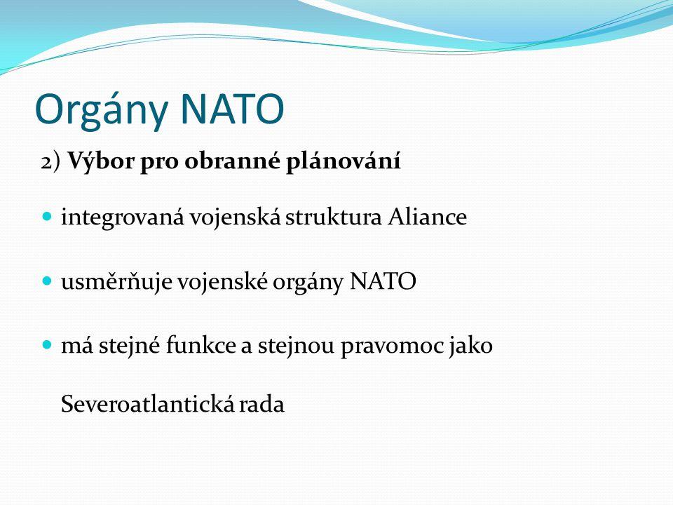 Orgány NATO 2) Výbor pro obranné plánování