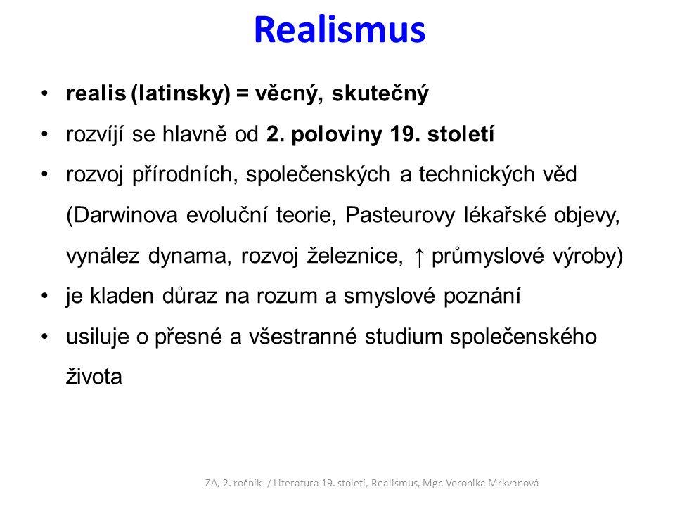 Realismus realis (latinsky) = věcný, skutečný