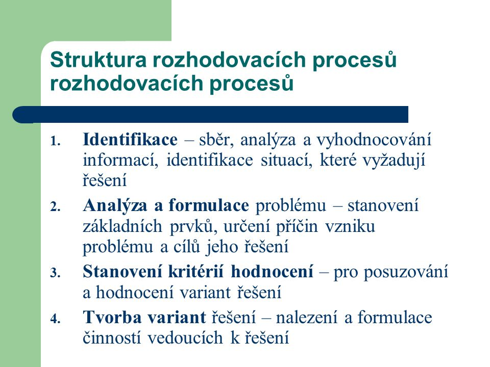 Struktura rozhodovacích procesů rozhodovacích procesů