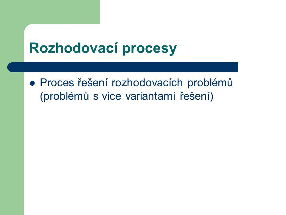 Rozhodovací procesy Proces řešení rozhodovacích problémů (problémů s více variantami řešení)