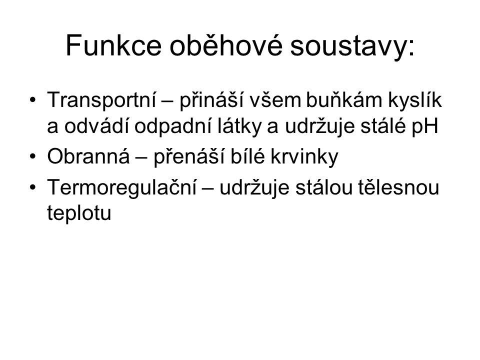Funkce oběhové soustavy: