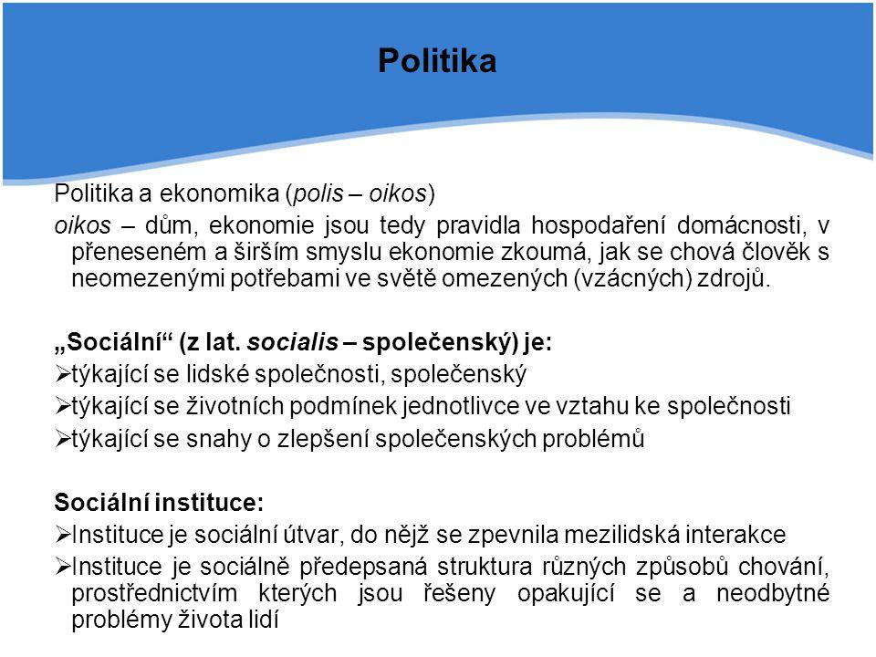 Politika Politika a ekonomika (polis – oikos)