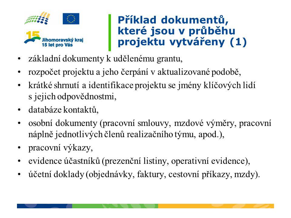Příklad dokumentů, které jsou v průběhu projektu vytvářeny (1)