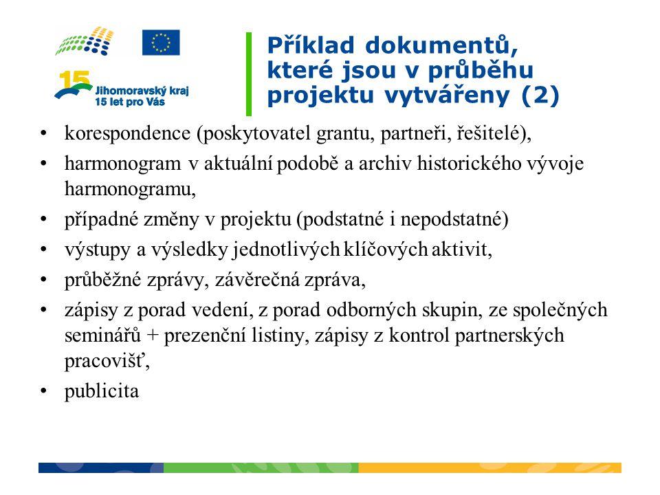 Příklad dokumentů, které jsou v průběhu projektu vytvářeny (2)