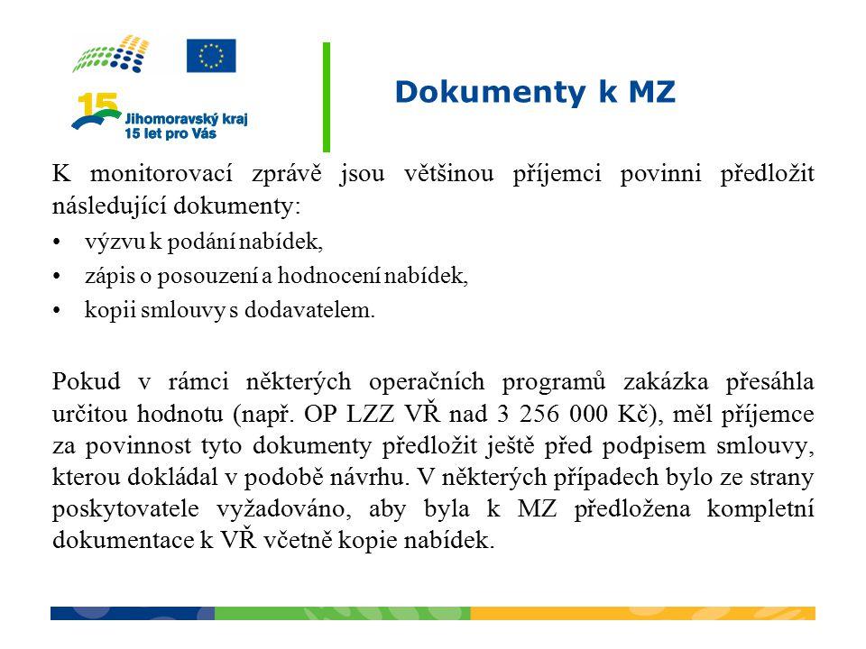 Dokumenty k MZ K monitorovací zprávě jsou většinou příjemci povinni předložit následující dokumenty: