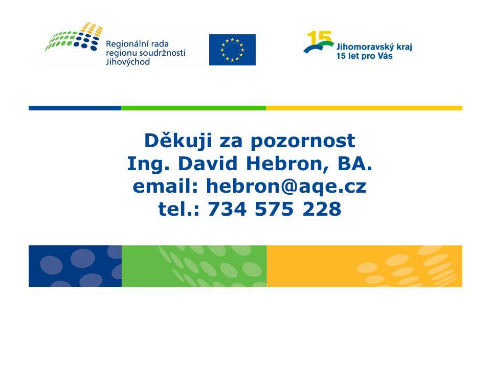 Děkuji za pozornost Ing. David Hebron, BA. email: hebron@aqe.cz tel.: 734 575 228