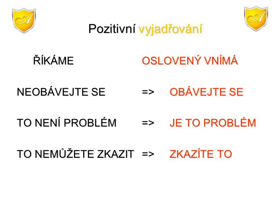 NEOBÁVEJTE SE => OBÁVEJTE SE TO NENÍ PROBLÉM => JE TO PROBLÉM
