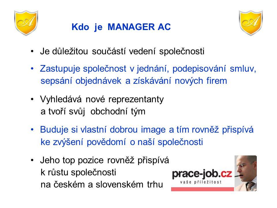 Kdo je MANAGER AC Je důležitou součástí vedení společnosti. Zastupuje společnost v jednání, podepisování smluv,